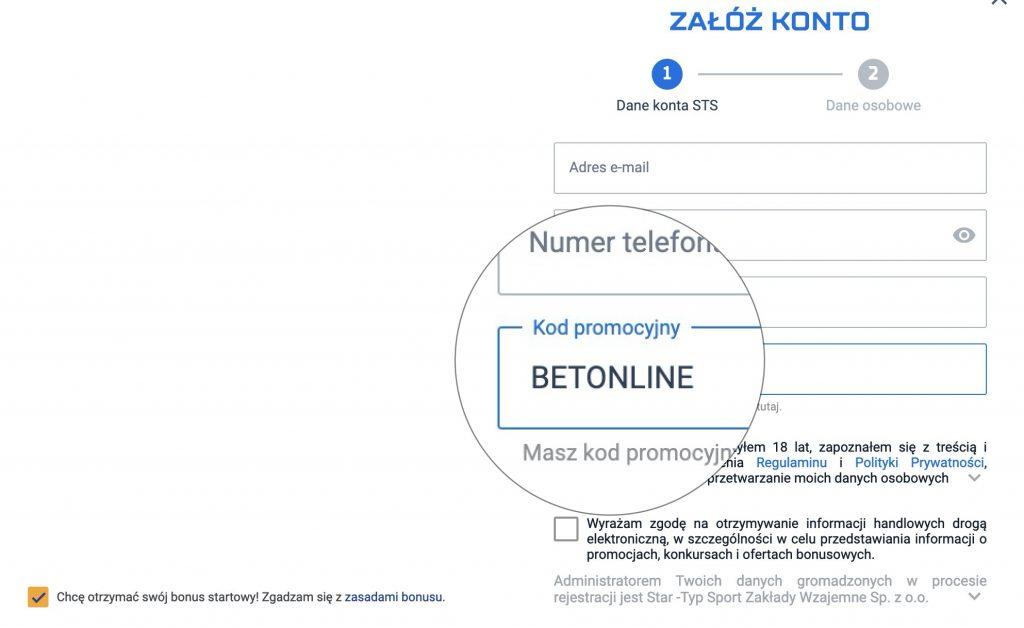 STS bonus powitalny specjalnym kodem promocyjnym! BETONLINE daje 29 PLN bez depozytu!